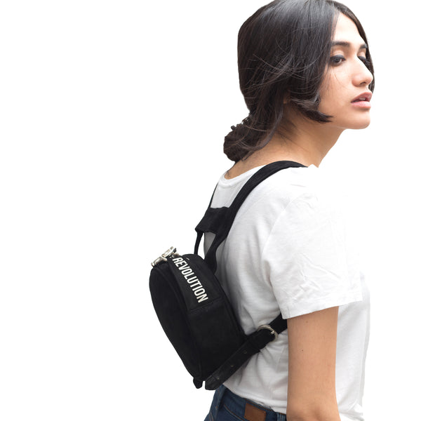 round mini leather backpack