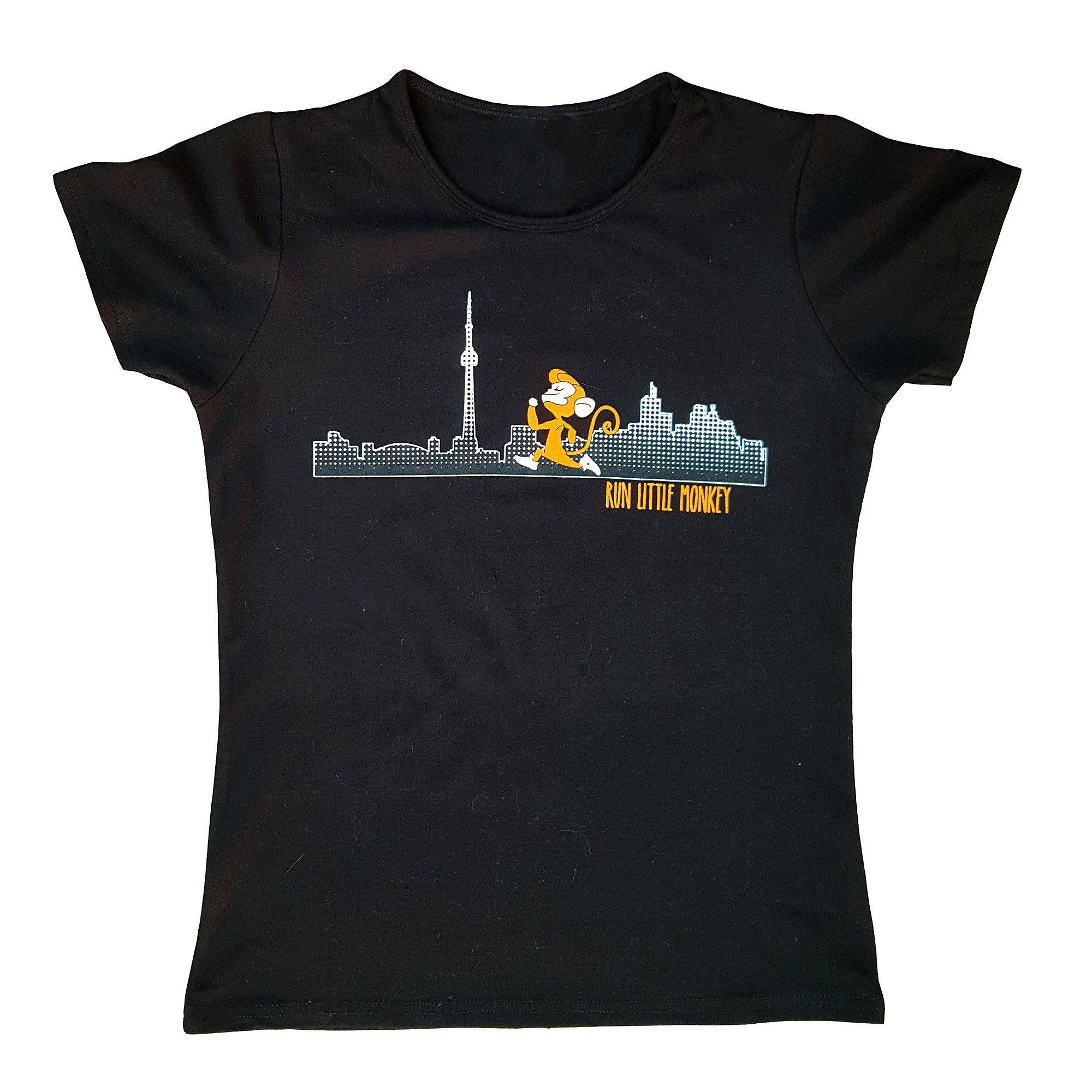 black bamboo women's running shirt toronto skyline