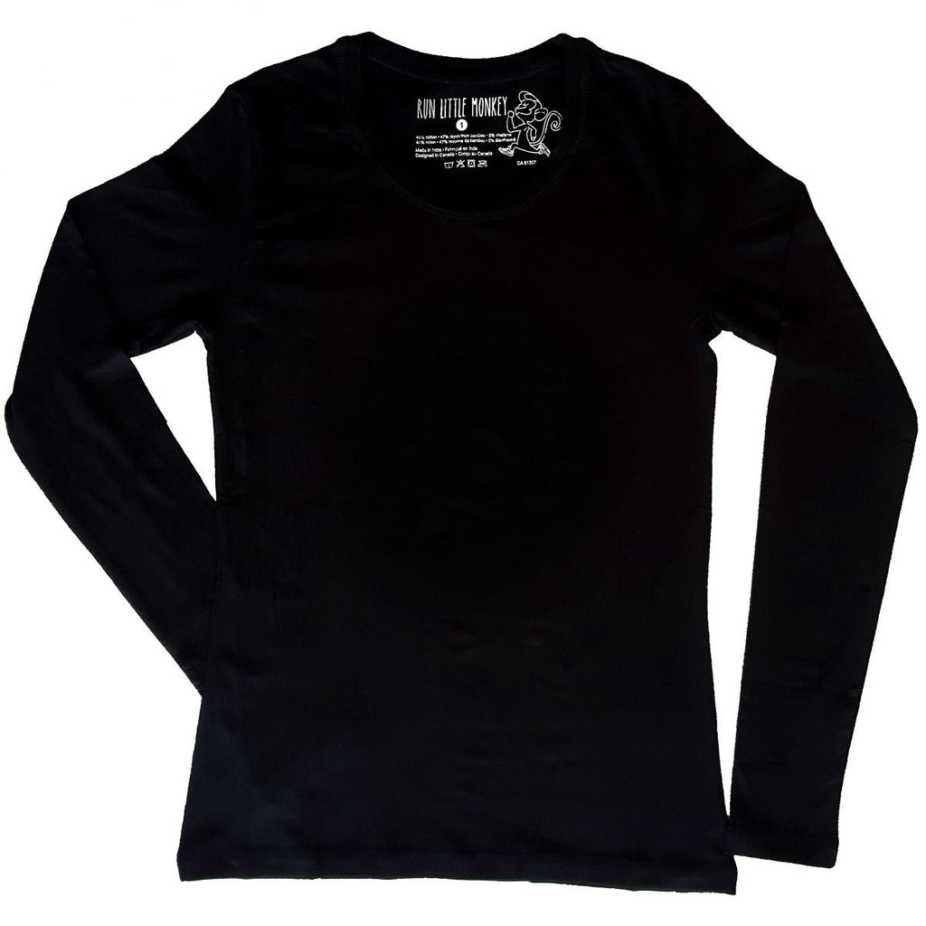Basic black long sleeve-Run Little Monkey