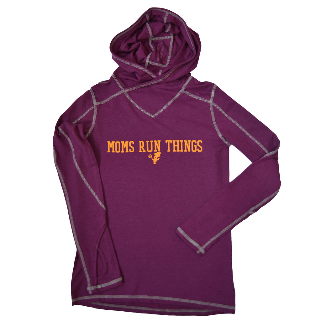 Run Little Monkey- Moms Run Things bamboo hoodie with pony tail hole
