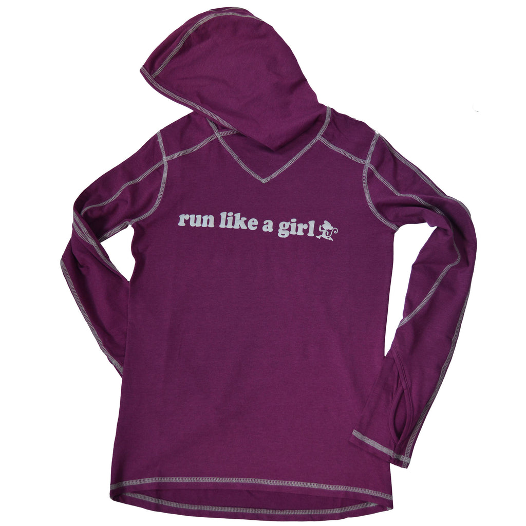 Run Little Monkey bamboo Run Like a Girl hoodie with pony tail hole