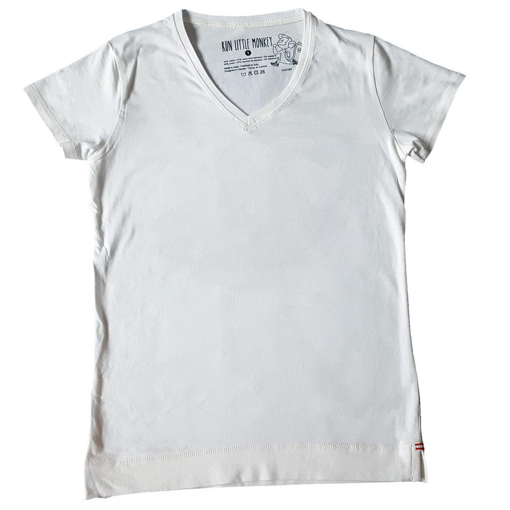 Basic white v-neck T-Run Little Monkey