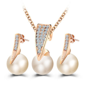 Imitation Pearl Jewelry Sets - Rhinestone Gold Color Necklace - Water Drop Earrings