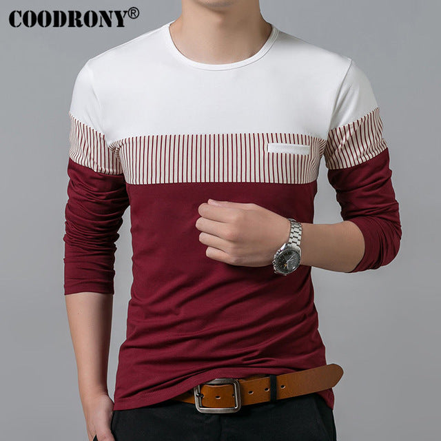 LONG SLEEVE O-NECK PATCHWORK COTTON T-SHIRT
