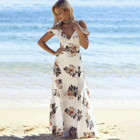 Image of FLORAL PRINT RUFFLES LONG DRESS.  WOMEN STRAP V NECK SPLIT BEACH SUMMER - DRESS OFF THE SHOULDER