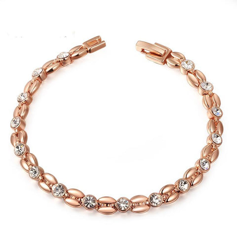 GENUINE AUSTRIAN CRYSTAL - ELEGANT ROSE GOLD COLOR HAND MADE BRACELET