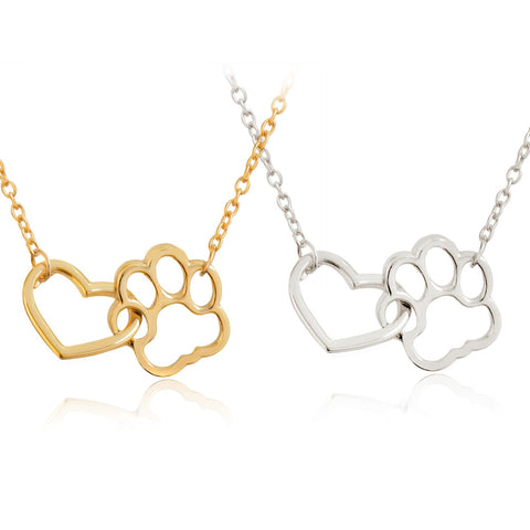 Hollow Pet Paw Footprint Necklaces -Dog - Cat Love Heart Pendant Necklace For Women