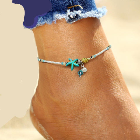 Image of SHELL ANKLET BEADS - STARFISH