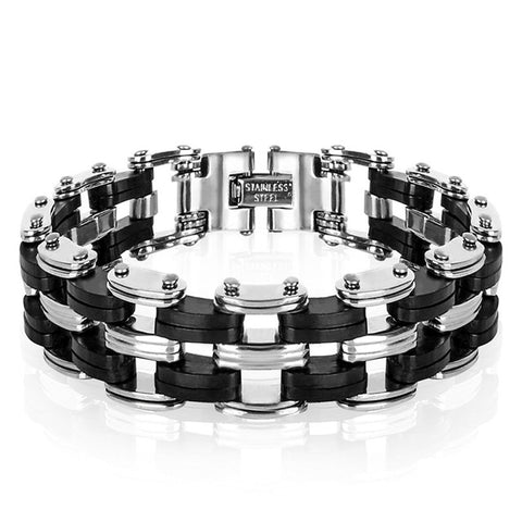 Image of STAINLESS STEEL - SILICONE PUNK BRACELET