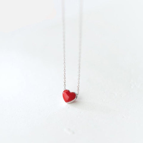 TINY RED HEART PENDANT NECKLACE