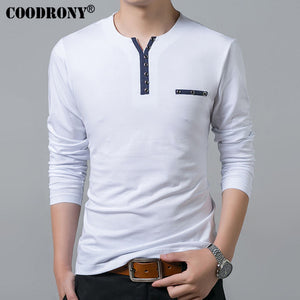 PURE COTTON T SHIRT LONG SLEEVE HENRY COLLAR-SLIM FIT