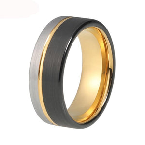 THREE COLOR SILVER-BLACK-GOLD COLOR TUNGSTEN CARBIDE RING FOR MEN/WOMEN