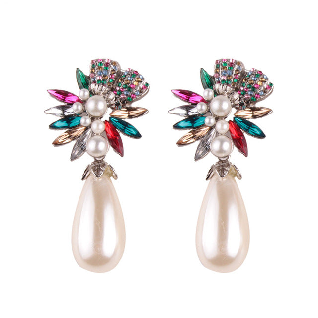 LUXURY BOHEMIAN WEDDING SIMULATED PEARL EARRINGS - MULTI COLOR DROP