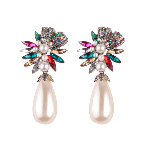 Image of LUXURY BOHEMIAN WEDDING SIMULATED PEARL EARRINGS - MULTI COLOR DROP
