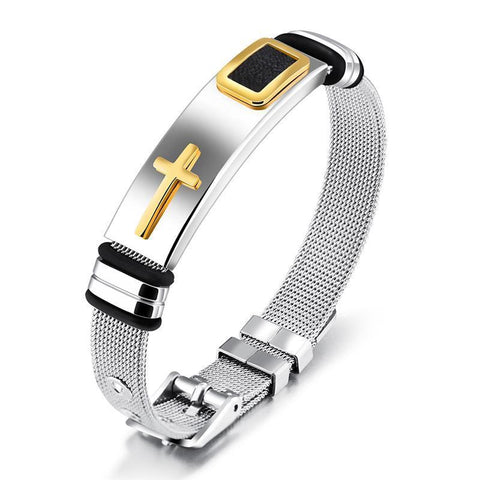 CROSS BRACELET FOR MEN STAINLESS STEEL - SILVER & BLACK