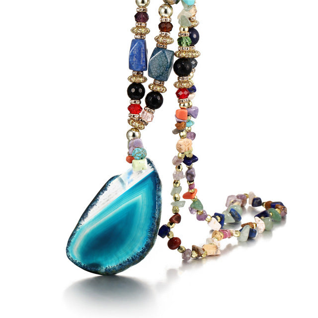 MULTICOLOR STONE WATER DROPS NECKLACE - BIG PENDANT