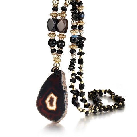 Image of MULTICOLOR STONE WATER DROPS NECKLACE - BIG PENDANT
