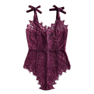 GEORGOUS PURPLE V-NECK LACE BODYSUIT