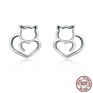 HOT 925 STERLING SILVER CUTE CAT SMALL STUD EARRINGS