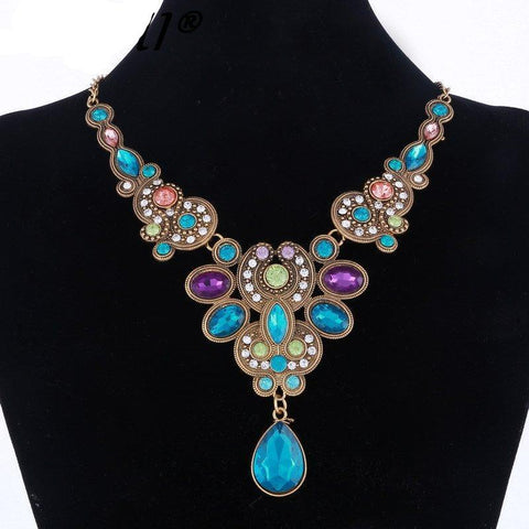 CRYSTAL CHOKER - BIB COLLAR NECKLACE - COLORFUL GEM FLOWER PENDANT - NECKLACE
