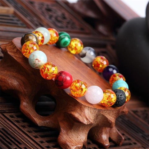 Image of NATURAL STONE LOVE PURPLE BEAD VINTAGE BRACELET