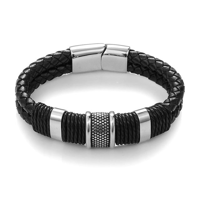 BLACK BRAID WOVEN LEATHER - TITANIUM - STAINLESS STEEL BRACELET