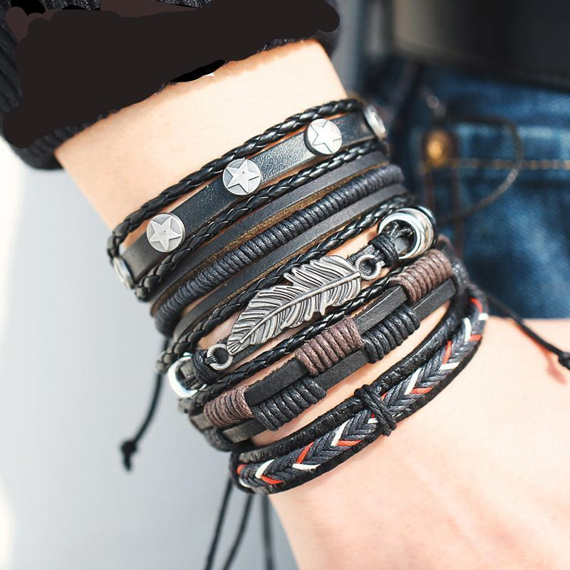 VINTAGE LEAF FEATHER MULTILAYER LEATHER MEN'S BRACELET