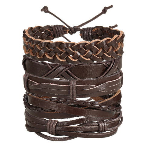 Image of VINTAGE LEAF FEATHER MULTILAYER LEATHER MEN'S BRACELET