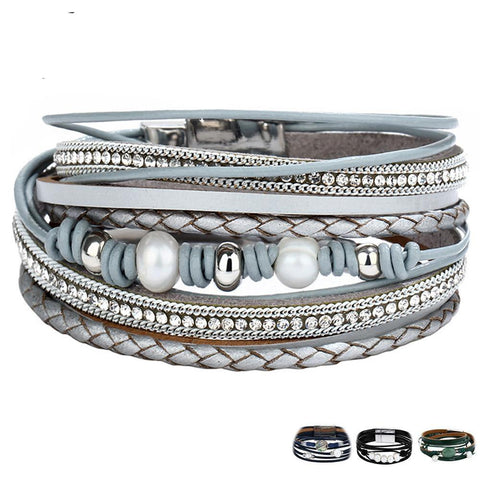 VINTAGE MULTIPLE LAYERS LEATHER BRACELET - SIMULATED PEARL FASHION CHARMS