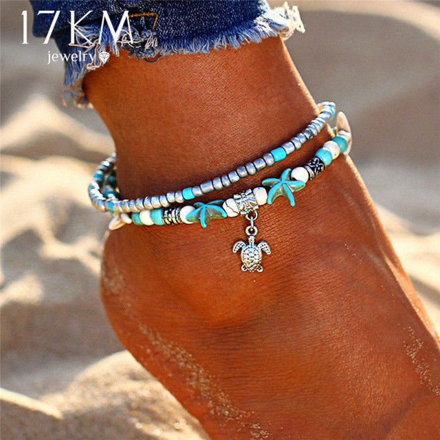 DOUBLE LAYER PENDANT BOHEMIAN ANKLET