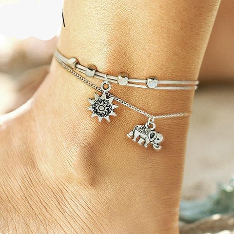 Image of DOUBLE LAYER PENDANT BOHEMIAN ANKLET