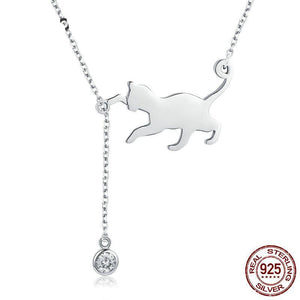 CUTE CAT CHAIN PENDANT NECKLACE - 925 STERLING SILVER