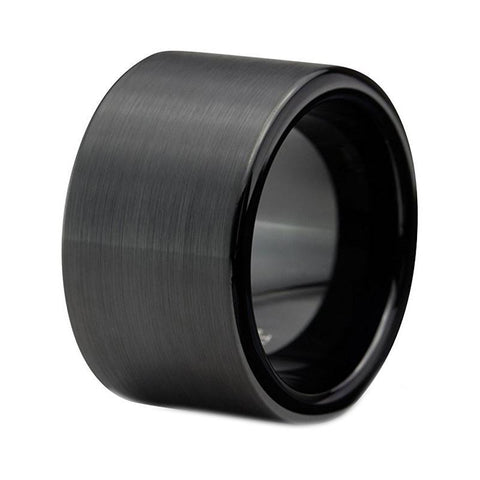BLACK 12MM TUNGSTEN RING BAND WITH SATIN FINISH