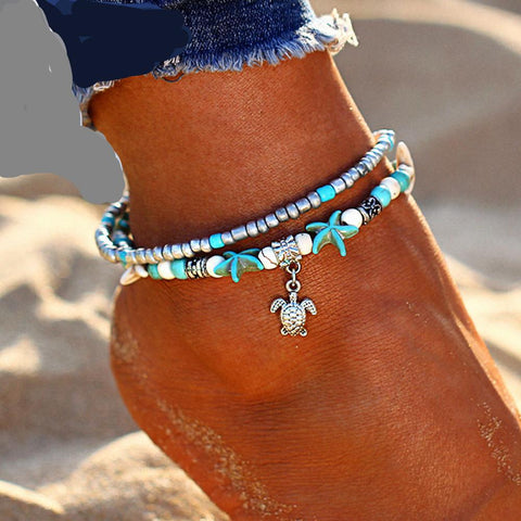 VINTAGE SHELL BEADS STARFISH ANKLET - MULTILALYER HANDMADE BOHEMIAN JEWELRY