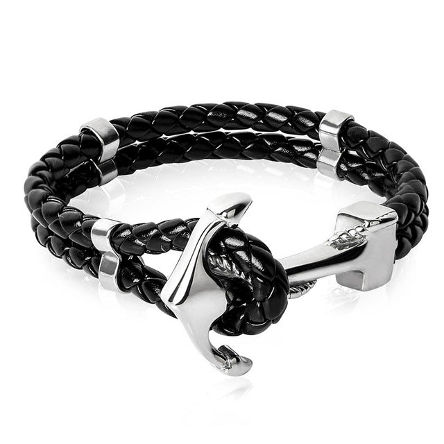 SILVER - GOLD ANCHOR CLASP - BLACK BRAID GENUINE LEATHER -STAINLESS STEEL BANGLE BRACELET