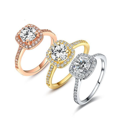 WHITE ROSE GOLD COLOR RHINESTONE RING