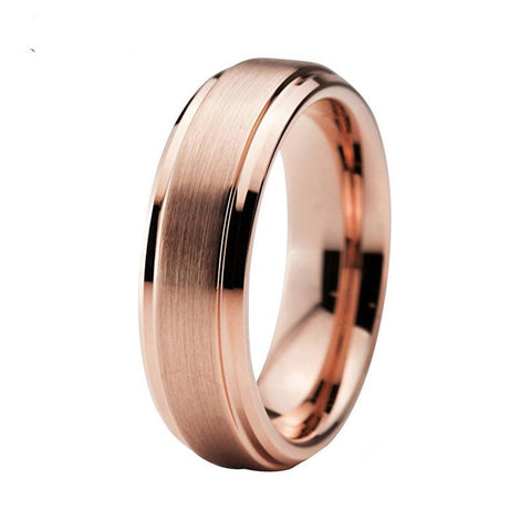 ROSE GOLD WEDDING BAND - TUNGSTEN - STEPPED BEVEL EDGES 6MM