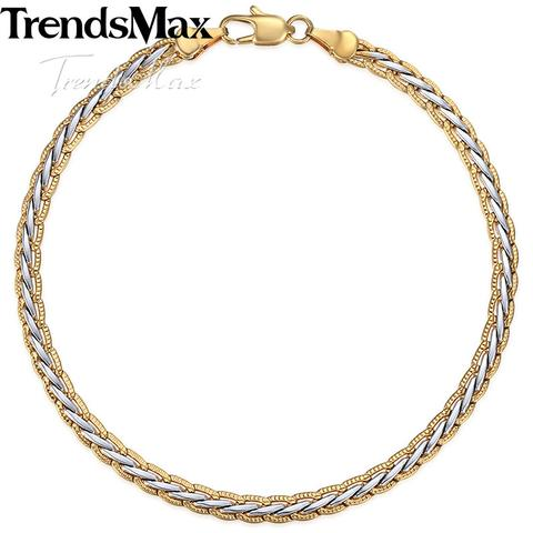 Image of GOLD SILVER COLOR BRAIDED WHEAT BRACELET