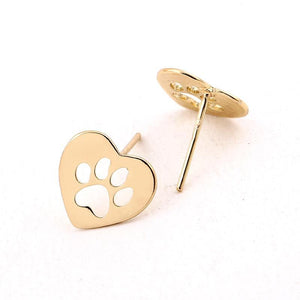 CUTOUT HEART SHAPED - DOG PAW STUD EARRINGS