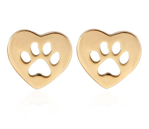 Image of CUTOUT HEART SHAPED - DOG PAW STUD EARRINGS