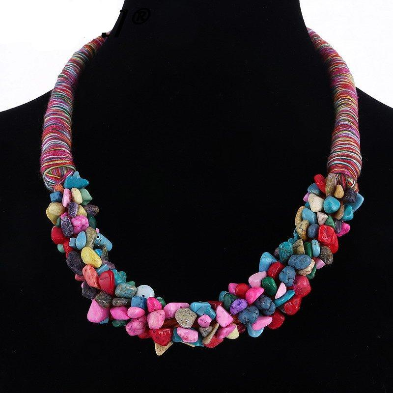 MULTILAYER NECKLACE - BOHEMIA STYLE - CORAL STONE PENDANT