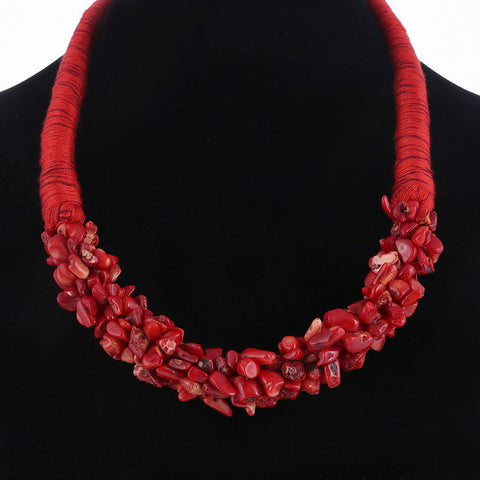 Image of MULTILAYER NECKLACE - BOHEMIA STYLE - CORAL STONE PENDANT