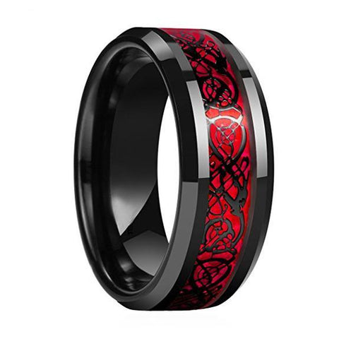 DRAGON TUNGSTEN CARBIDE RING WITH RED OPAL AND BLACK DRAGON INLAY