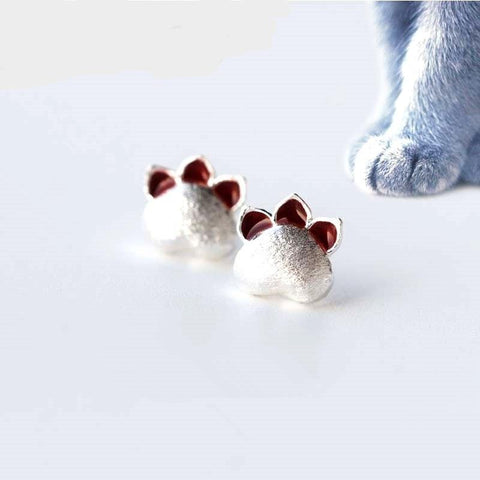 CUTE CAT'S PAW 925 STERLING SILVER EARRINGS