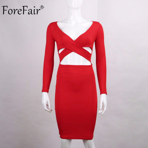 LONG SLEEVE BANDAGE  MIDI DRESS - WEAR CLUB - ELEGANT - SEXY - PENCIL DRESS