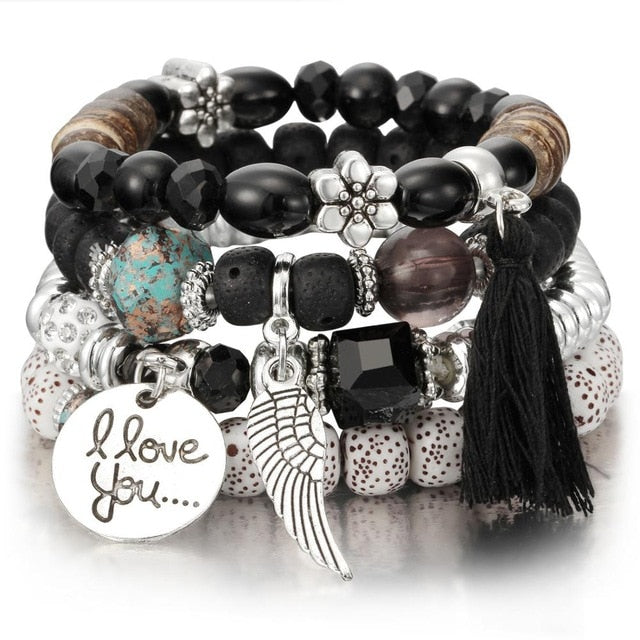 I LOVE YOU - CRYSTAL BEAD - VINTAGE BRACELETS
