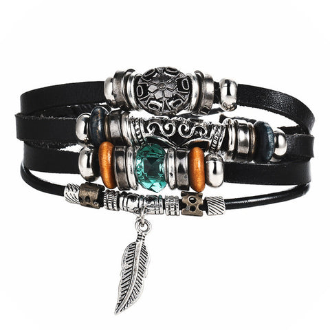 4 DESIGN LEAF FEATHER MULTIPLE LAYER BRACELET - BRAID BANGLES