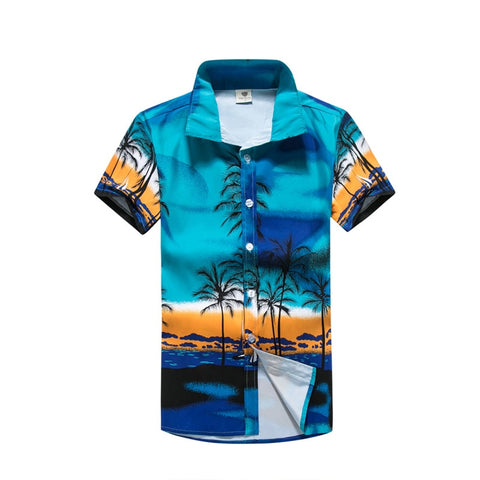 CASUAL HAWAIIAN - FLORAL PRINT - SHORT SLEEVE BEACH SHIRT
