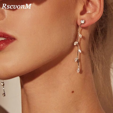 SILVER COLOR CRYSTAL LONG DROP - CHANDELIER - FLORAL SHAPED EARRINGS