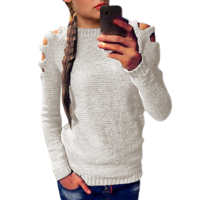 SEXY HOLLOW-OUT SHOULDER LONG SLEEVE KNITTED SWEATER